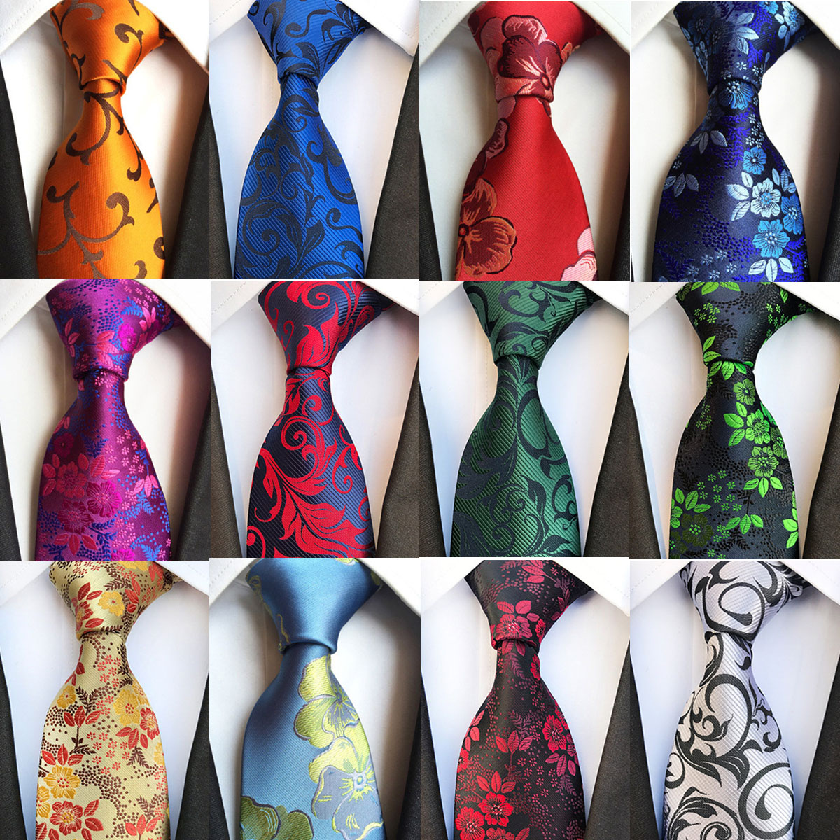 New Fashion 8cm Silk Men's Floral Tie Green Bule Jucquard Necktie Suit Men Business Wedding Party Formal Neck Ties Gifts Cravat