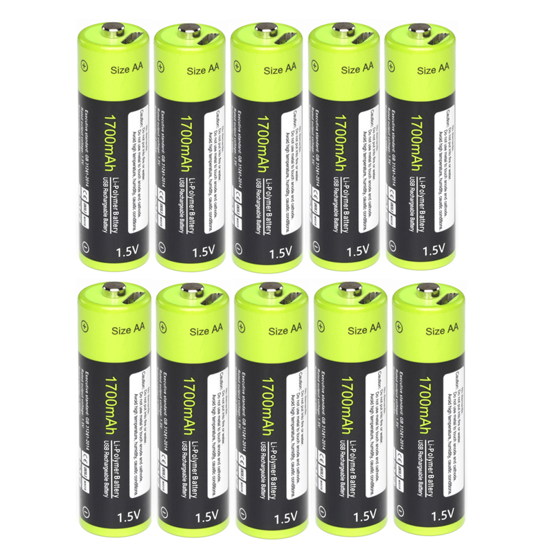 Original ZNTER 10pcs 1.5V AA 1700mAh Rechargeable Battery USB Charging Lithium Baterry Charged By Micro USB Cable Drop shipping image