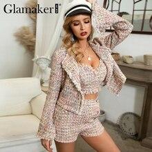Glamaker Sexy lurex short tweed blazer jacket Women autumn push up elegnat blaze