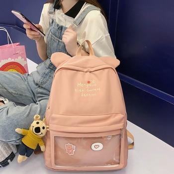 цены New Nylon Backpack Fashion Transparent Female Male Schoolbag Bag for Teenager Girl Travel Backpack Book Bag For Student Mochila