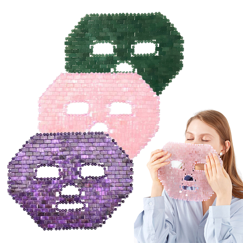Rose Quartz Crystal Sleep Mask Natural Amethyst Face Mask Cold Therapy Facial Mask Green Jade Sleeping Masks Cooling Massager