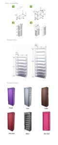 Image 4 - 9 Lattices Shoe Rack Shelf Tower Nonwoven Fabric Shoe Organizer Storage Cabinet for Shoes Saving Space Shelving   US Stock