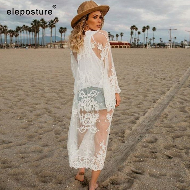 2020 New Sexy Lace Embroidered Beach Cover Up Women Bikini Swimsuit Cover Up Beach Dress Cardigan Tunics Bathing Suits Cover-Ups 2