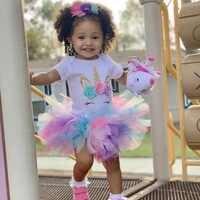 Vestido de fiesta de 1 ° cumpleaños para niña recién nacida, Princesa, tutú de malla para Ceremonia de 1 año, Vestidos de bautizo de unicornio infantil