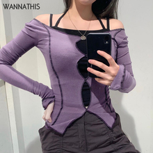 Wannathis Purple Top Women Long Sleeve Top Shirts 2020 Hollow Out Slit Hem Autumn Streetwear Slim Cotton Ladies Casual Patchwork