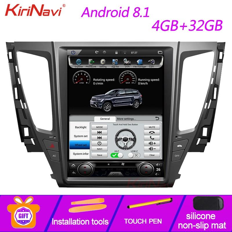 "KiriNavi de pantalla Vertical Tesla estilo 12,1 ""Multimedia para coche Mitsubishi Pajero Sport Montero Android 8,1 Radio de navegación GPS"