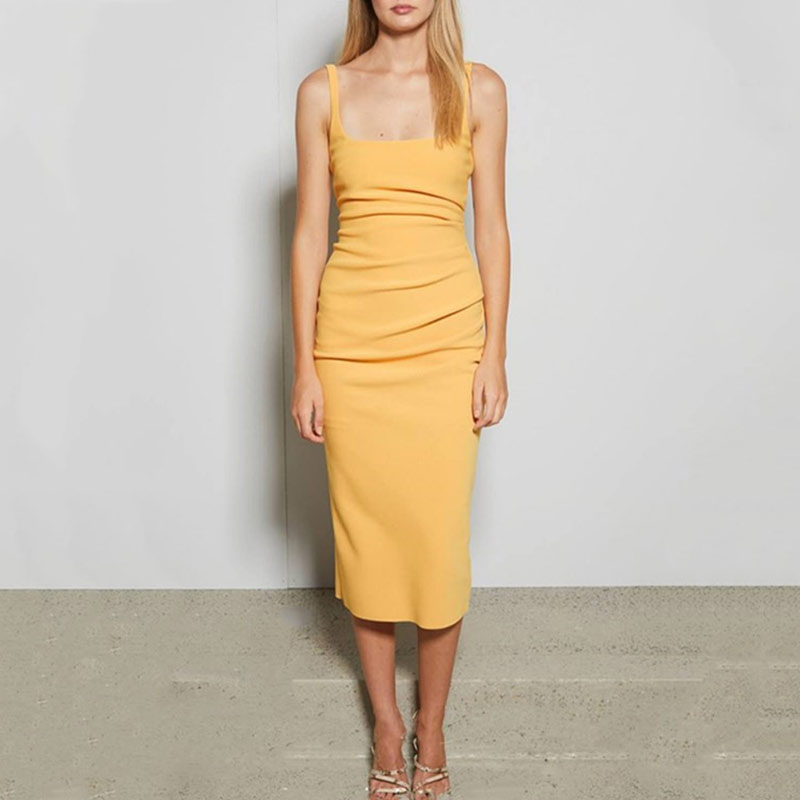 Sexy Bandage robe femmes 2019 mode jaune Midi débardeur moulante robe jaune carré col serré ajusté Pack hanche robe tenue de club