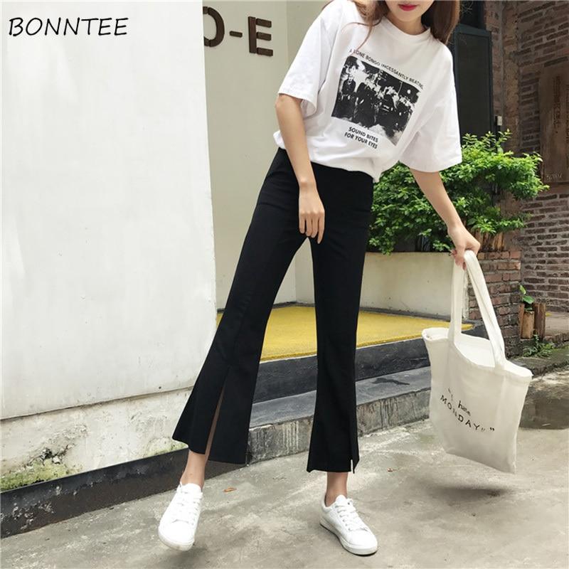 Pants Women Solid Color Ankle-Length Elastic Waist High Womens Flare Trousers Pockets Simple Elegant Slim Leisure Korean Style