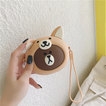 цена на Cute Women Wallet Kawaii Cartoon Fox Silicone Mini Purse Jelly Coin Bag Key Pouch Earphone Organizer Storage Box Small Pocket