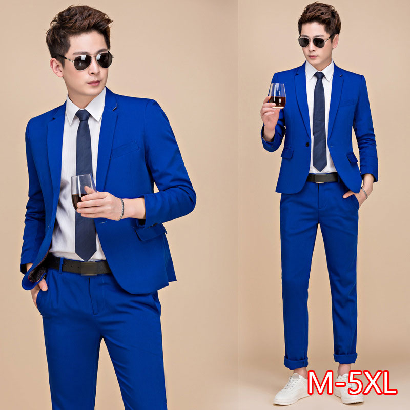 Tide Men Colorful Fashion Wedding Suits Plus Size 5XL Yellow Pink Green Blue Purple Suits Jacket And Pants Tuxedos 2020