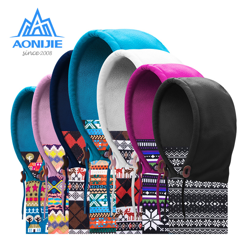 AONIJIE E802 Men Women Adult Double Layered  Winter Thermal Fleece Balaclava Face Cover Ski Cap Mask Scarf For Running Cycling