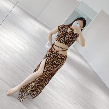 Belly Dance Training Clothes Spring and Summer 2020 New Sexy Leopard Print Suit With Split Long Skirt  Top and Skirt 2 Piece girls geometric print top with solid skirt