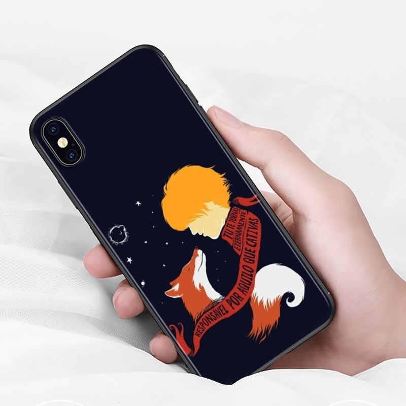 Capa preta para iphone 11 pro max escudo macio bonito pouco príncipe para iphone xs max xr x 8 7 6 s 6 plus 5S 5 caso de telefone