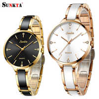 Reloj de mujer SUNKTA reloj de cerámica reloj de diamante Simple para mujer reloj de moda Casual reloj de pulsera deportivo a prueba de agua reloj femenino