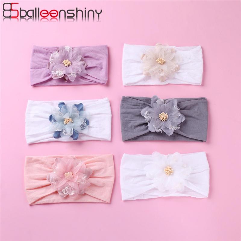 BalleenShiny Mesh Lace Combination Flower Infant Baby Hair Accessories Baby Girls Headband Children's Super Soft Nylon Hair Band