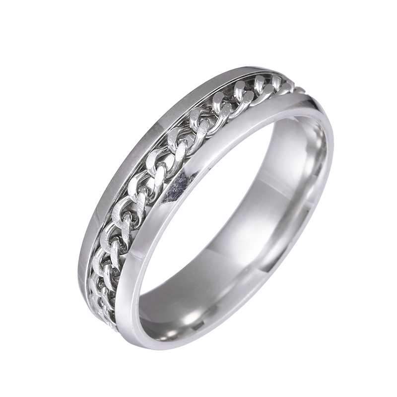 6mm simple chain ring classic style punk style men's ring small jewelry man rings Stainless steel ring