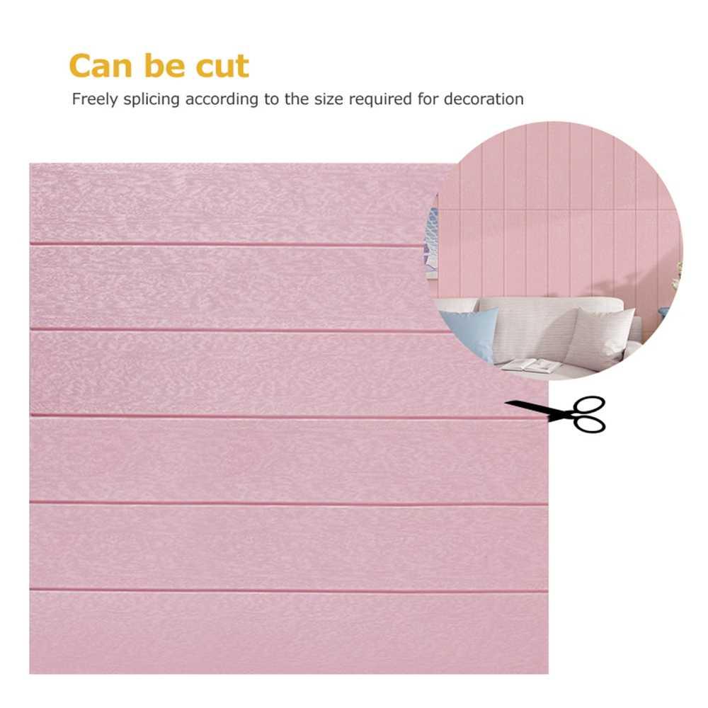 3D ไม้วอลเปเปอร์กันน้ำ Self-adhesive Foam วอลล์เปเปอร์อิฐ DIY สติ๊กเกอร์ติดผนังกระดาษแผง Wall Decals Room บ้าน decor