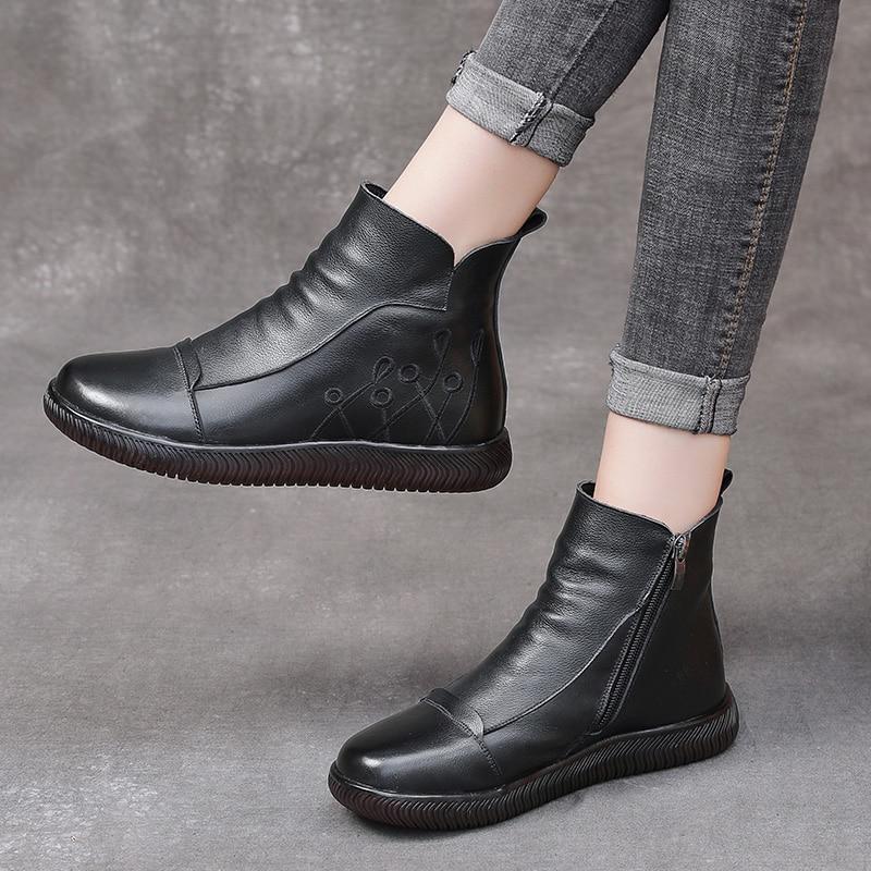 Женские кожаные ботильоны; Сезон осень зима; Новинка 2020 года; Удобные теплые женские ботинки на мягкой плоской подошве с вышивкой в стиле ретро|Полусапожки|   | АлиЭкспресс