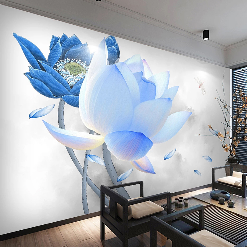 Custom 3D Wallpaper Murals Blue Lotus Flower TV Background Wall Decor Painting Bedroom Study Restaurant Living Room Large Mural