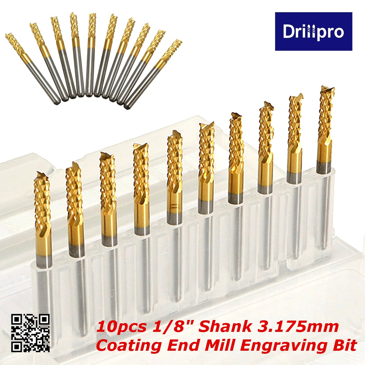 10pcs//lot 3.175mm Shank 2mm Titanium Coated Carbide PCB End Milling Cutter