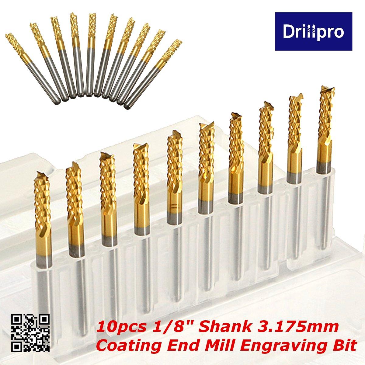 Drillpro DB-M1 10pcs 0.8-3mm Titanium Coated Engraving Milling Cutter Carbide Bi