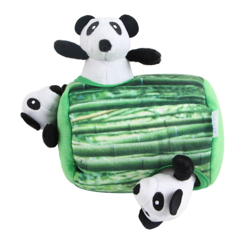 Dog Plush Toy Burrow Interactive Squeaky Hide and Seek Toys Pet Panda Bamboo Cave Play Toy Dog Supplies C42