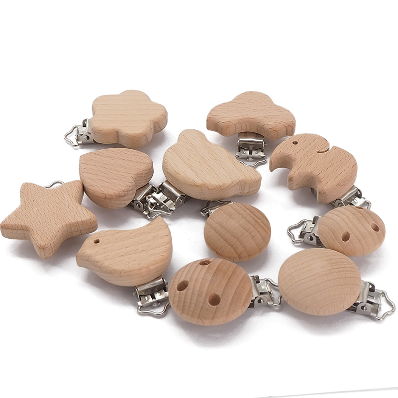 Chenkai 50PCS Wooden Bear Flower Car Heart Bird Elephant Round Star Clips BPA Free For DIY Baby Nature Pacifier Chain Gifts