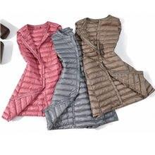 Inverno para baixo colete dwon jaquetas ultra-leve das mulheres parkas coberto botão à prova de vento longo colete plus tamanho dropshipping