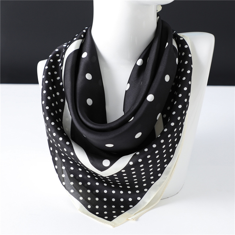 2020 Fashion Square Silk Scarf Women Black White Polka Dot Shawls And Wraps Bag Scarves Hair Tie Bandanas Hijab 70*70Cm