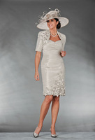 Silver 2019 Mother Of The Bride Dresses Sheath With Jacket Taffeta Beaded Flowers Groom Short Mother Dresses For Wedding