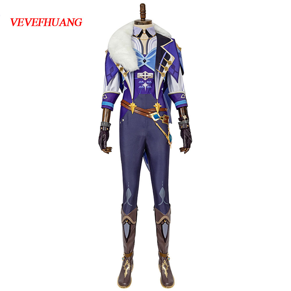 VEVEFHUANG Kосплей Anime Game Genshin Impact Kaeya Original Battle Uniform Gorgeous Outfit Cosplay Costume Xmas Carnival парик