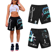 2021 Women Summer Casual Shorts With Fork Skull Flame Print Elastic Middle-Waist Loose Short Pants For Daily Life Dating Work