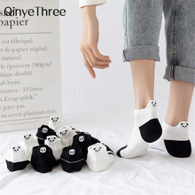 Engraçado bonito bordado panda meias femininas harajuku divertidos kawaii branco preto calcetines mujer tornozelo sokken chaussette femme