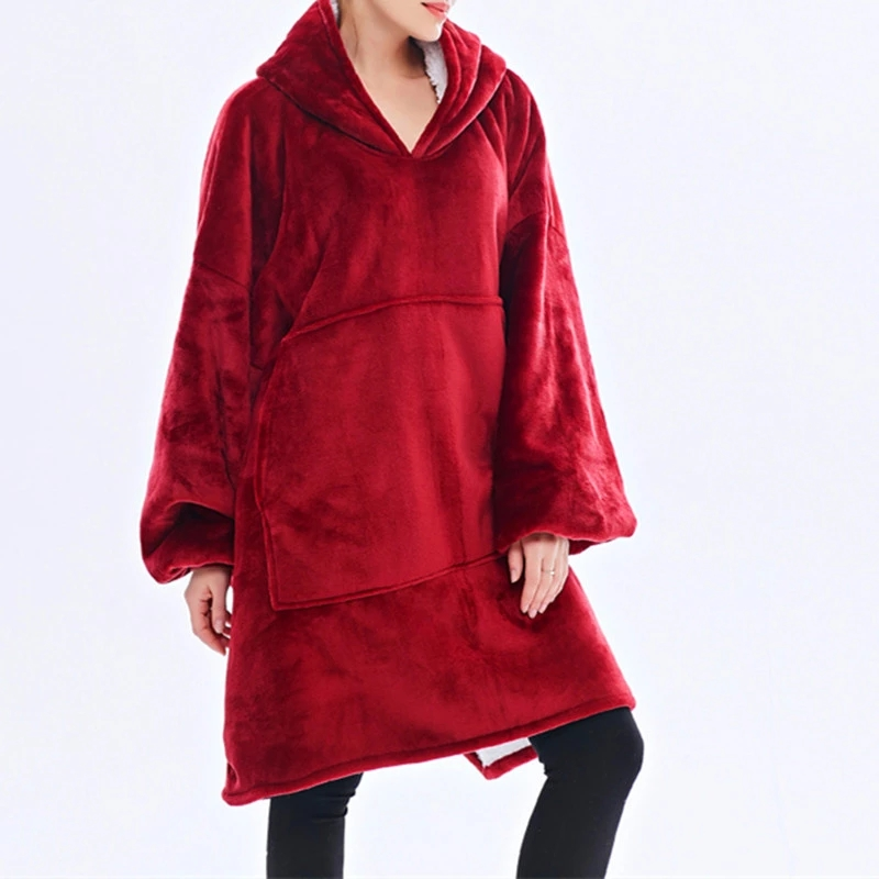 Winter Warm TV Pocket Hooded Blankets Adults Bathrobe Sofa Cozy Blanket Sweatshirt Plush Coral Fleece Blankets Outwears-2