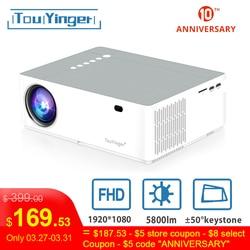 TouYinger M19 projektor Full HD 1080P 5800 lumenów wsparcie AC3 LED do projekcji w domu kino Full HD film Beamer tv box z androidem opcjonalnie w Projektory LCD od Elektronika użytkowa na