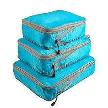 Rantion 3 قطعة/المجموعة ضغط مكعبات تعبئة حقيبة التخزين السفر الأمتعة حقيبة منظم مجموعة طوي مادة النايلون مقاوم للماء