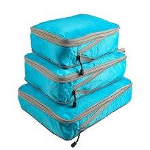 Rantion 3 pçs/pçs/set cubos de embalagem compressão saco de armazenamento de viagem mala organizador conjunto dobrável à prova dfoldable água material de náilon