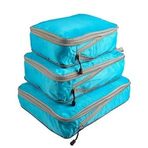 Image 1 - Rantion 3pcs/set Compression Packing Cubes Travel Storage Bag Luggage Suitcase Organizer Set Foldable Waterproof Nylon Material