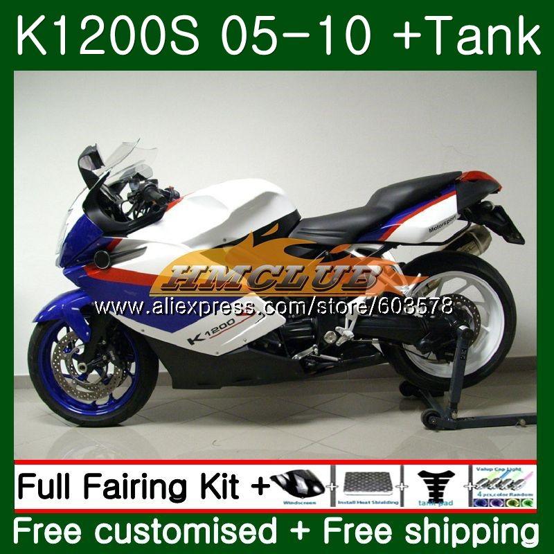 Pour BMW K 1200 S K 1200 S K1200S 05 06 07 08 09 10 Bleu Blanc 38CL. 38 K1200 S K-1200S 2005 2006 2007 2008 2009 2010 Carénage