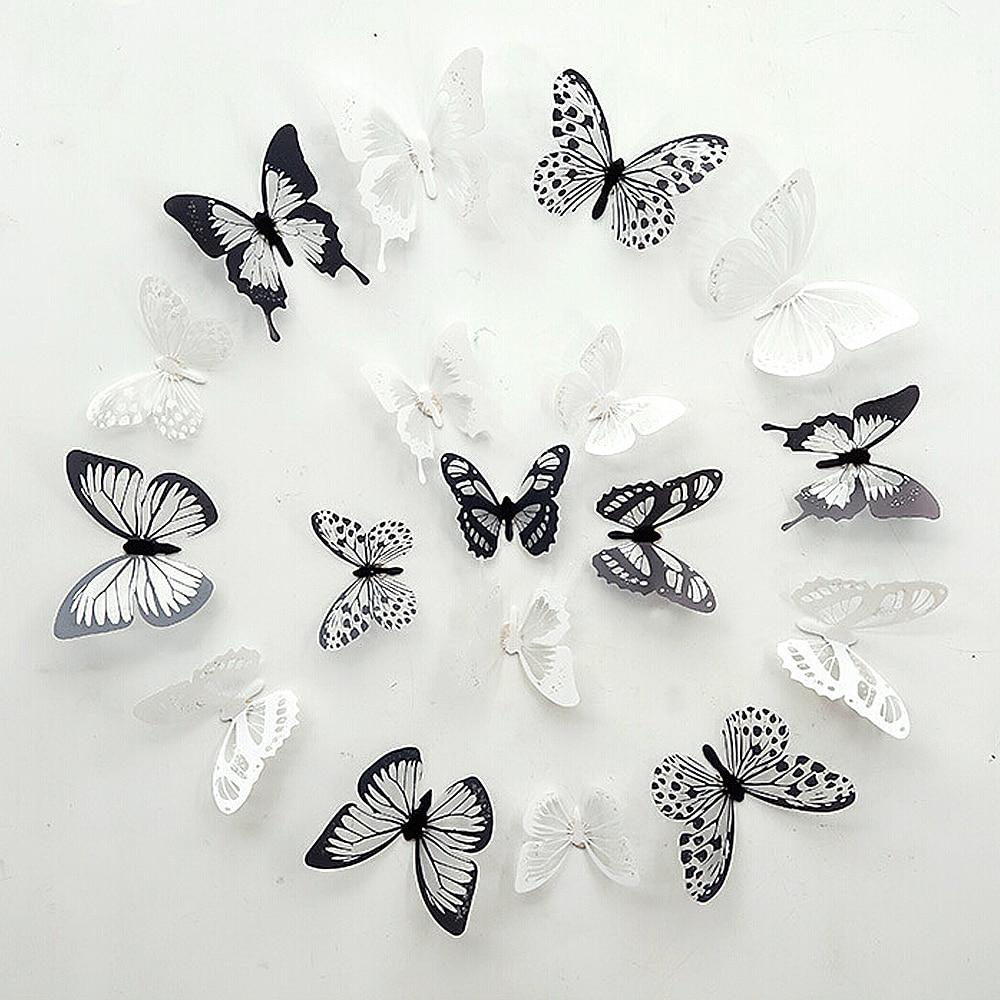OMMO LEBEINDR Pared de la Mariposa 3D Pegatinas decoraci/ón de la Pared Decal Mariposa Decoraciones del Arte 3 Tama/ño de la habitaci/ón Decoraci/ón Negro 12pcsfor Conveniencia