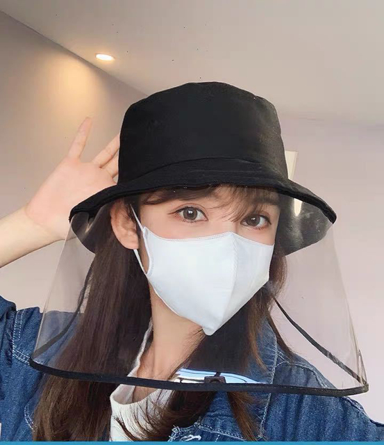 Virus Protective Face Shield Mask Cover Hat Anti Spitting Saliva Drool Fisherman Cap Clear Facial Mask Splash Anti-Fog Anti-Oil