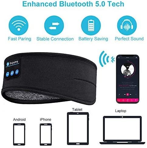 Bluetooth dormir fones de ouvido esportes bandana fina macia elástica confortável música sem fio máscara para o lado do sono 6