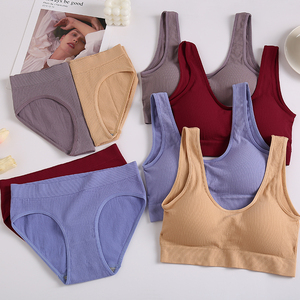 New Sexy Women Lingerie Underwear Camis And Panty Set Top Bra Set Ultra-thin Bras For Woman Cropped Top Underpants 6 Solid Color