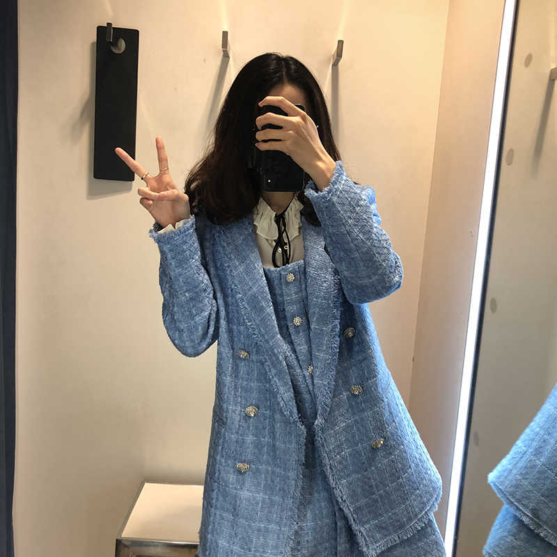 Frauen blazer za 2020 büro dame blau plaid zwei-stück frauen anzug einreiher langarm frühling strickjacke jacke