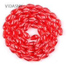 Red Faceted Teardrop Austrian Crystal Beads For Jewelry Making 11*8mm Waterdrop Glass Diy Bracelet Earring Accessories
