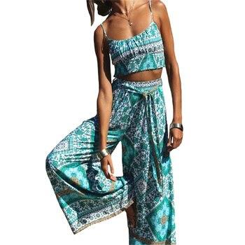 2020 Wide-leg Pants Crop Top Suit Beach Bohemia Cotton Women Summer Two Pieces Set Boho Chic Elastic Hem Floral Casual Suits knot hem crop top