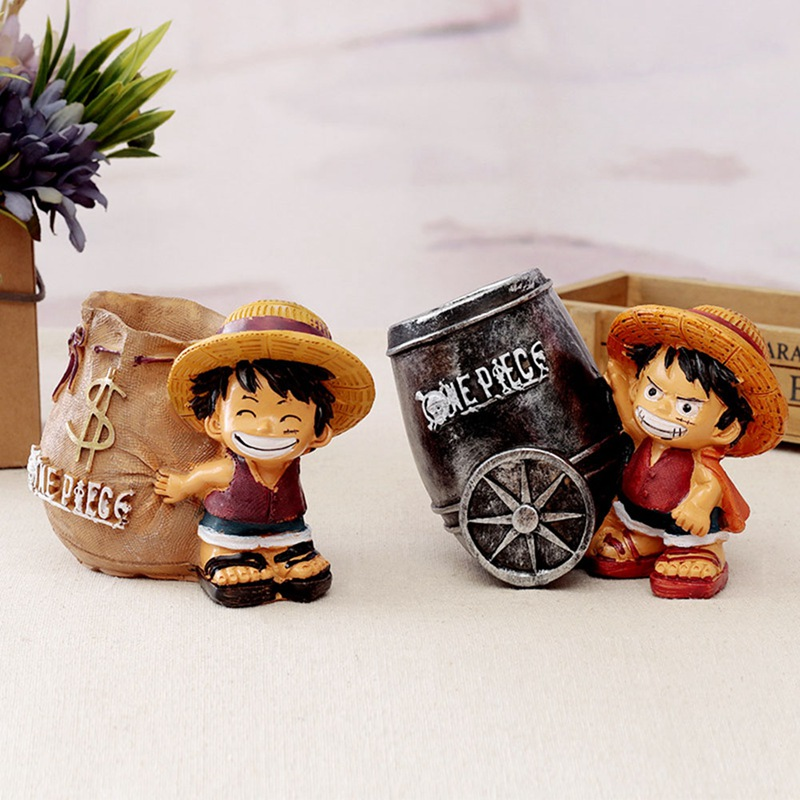 Anime One Piece Luffy Resin Creative Figure Office Desk Pen Holder Collectible Decoration Action Figurines Boy Toys Useful Gifts