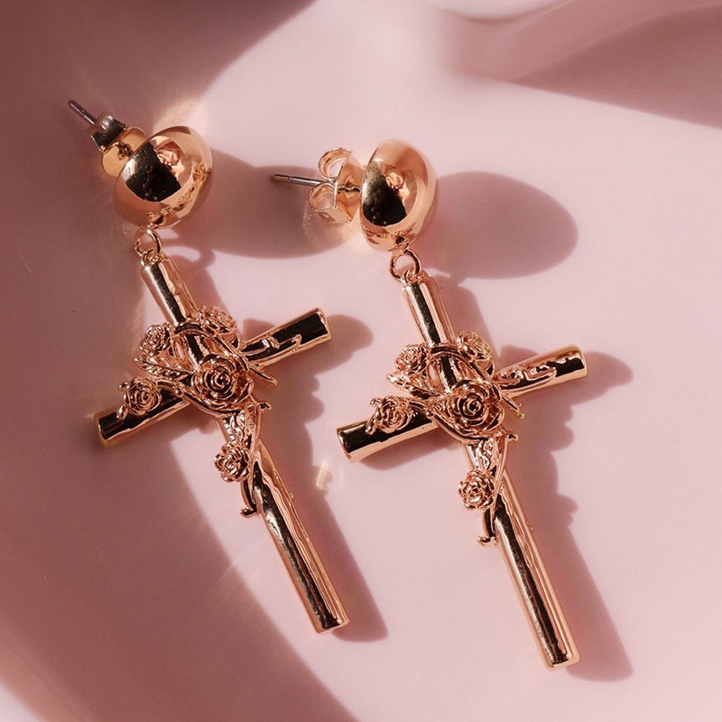 Huitan Fashion Rose Gold Color Cross Rose Wrapped Women Drop Earring Wedding Engage Party Earring Personality Pendent Earrings