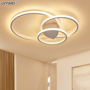 Image 3 - Modern Rings LED Chandeliers Lighting For Bedroom Living Room White Black Coffee Lights Fixture Lamps AC90 260V QIYAMEI