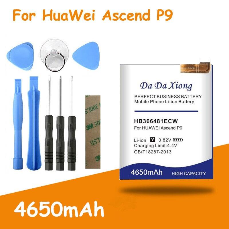 4650mAh HB366481ECW batterie pour Huawei P9 batterie EVA-AL00 AL10 EVA-TL00 EVA-L19 pour Huawei G9 Lite Honor 8 pour Huawei 5c